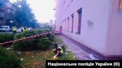 Здание украинского телеканала 112 после инцидента с обстрелом. Киев. 14 июля.
