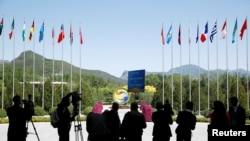2017年5月15日第一次一帶一路峰會會場拍攝的記者。