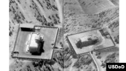 2014年9月23日盟国部队空袭伊斯兰国在叙利亚北部城市拉加的指挥和控制中心。(美国中央指挥中心提供)