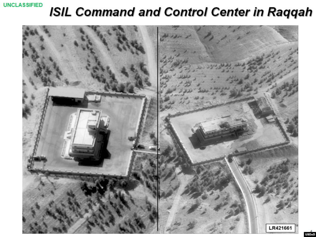 Press briefing slide - Before (left side) and after airstrike on ISIL Command and Control Center by coalition forces, Raqqah, Syria, Sept. 23, 2014, (U.S. Central Command Center)