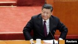 中国国家主席习近平在北京人大会堂参加纪念中国改革开放40年的纪念会。(2018年12月18日)