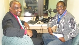 SPLM-N Secretary General Yasir Arman and South Sudan in Focus Host John Tanza at VOA's studio in Washington, D.C. (Courtesy photo)