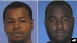 This combination of undated photos released the Mississippi Bureau of Investigation shows, Marvin Banks, left, and his brother Curtis Banks. The brothers are wanted in the fatal shooting of two Hattiesburg, Miss., police officers, May 9, 2015.