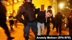 На акции протеста против приговора Алексею Навальному. Санкт-Петербург, 2 февраля 2021