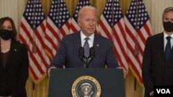 صدر بائیڈن خطاب کرتے ہوئے۔