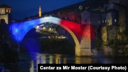 Old Bridge in Mostar painted in the colors of French flag