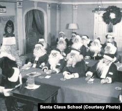 Charlie Howard addresses the Santa Class of 1948. This was also his first year in the Macy's Parade.
