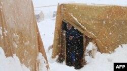 Một người tị nạn Syria nhìn cơn bão tuyết từ trong lều tại trại tị nạn ở Thung lũng Bekaa,7/1/15