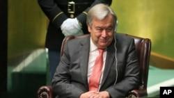 被联合国大会正式任命为下一任联合国秘书长的葡萄牙前总理古特雷斯(2016年10月13日)
