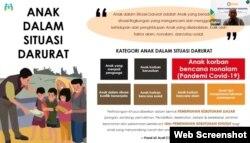 Kategori anak dalam situasi darurat, termasuk anak korban bencana nonalam membutuhkan perlindungan khusus dalam bentuk Pemenuhan Kebutuhan Dasar dan Pemenuhan Kebutuhan Khusus, Kamis, 12 Agustus 2021. (Foto: Tangkapan Layar)
