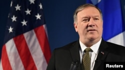 U.S. Secretary of State Mike Pompeo speaks on Arctic policy at the Lappi Areena in Rovaniemi, Finland, May 6, 2019.