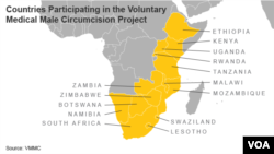 Countries Participating in the Voluntary Medical Male Circumcision Project.