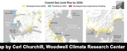 2050년까지 북한의 해수면 상승을 분석한 지도. Map by Carl Churchill, Woodwell Climate Research Center