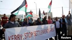 Beytüllahim'de ABD Dışişleri Bakanı John Kerry'nin ziyaretini protesto eden Filistinliler