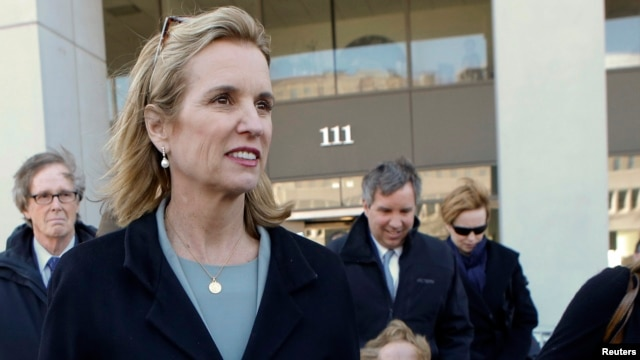 Kerry Kennedy exits the Westchester County Courthouse in White Plains, New York, Feb. 24, 2014.
