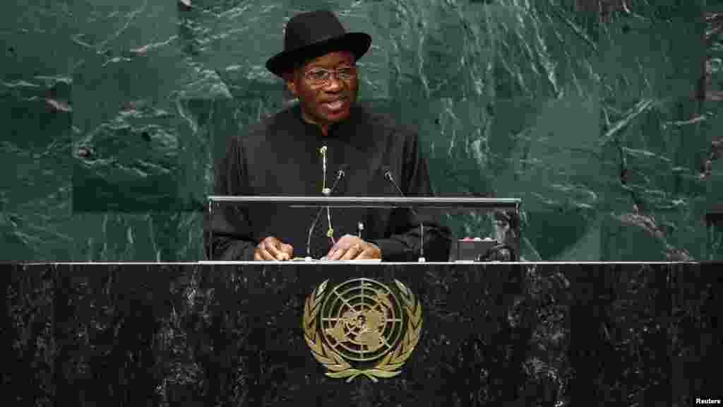 Shugaban kasar Najeriya Goodluck Jonathan yayi jawabi ga bangaren tsaro na Majalisar Dinkin Duniya a zama na sittin da tara na babban taron Majalisar Dinkin Duniya, Satumba 24, 2014