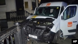 A photo issued by the Metropolitan Police, London, and made available June 10, 2017, shows the van used in the London Bridge attacks of June 3.
