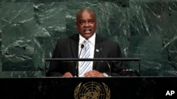 FILE - Vice President Mokgweetsi Eric Masisi of Botswana addresses the United Nations General Assembly, at U.N. headquarters, Thursday, Sept. 21, 2017.