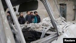 Misraba, la Ghouta orientale, Syrie, après une frappe aérienne, le 4 janvier 2018.