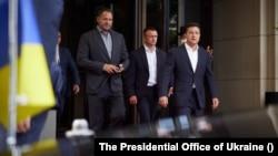 烏克蘭總統澤連斯基及助手2021年7月11號對德國進行工作訪問。(照片來源:烏克蘭總統辦公室提供)