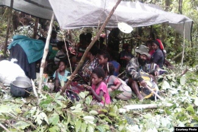 Masyarakat Nduga bersembunyi di hutan selama TNI-Polri melakukan pengejaran kelompok Egianus Kogoya. (Foto courtesy: Leri Gwijangge)
