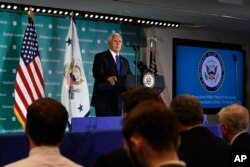 U.S. Vice President Mike Pence speaks at the Hudson Institute in Washington, D.C., Oct. 4, 2018.