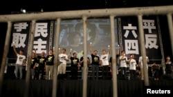 香港支聯會2015年6月4日晚主辦六四燭光追思會(路透社)