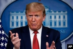 FILE - President Donald Trump speaks about the coronavirus in the James Brady Press Briefing Room of the White House, April 16, 2020, in Washington.
