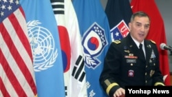 25일 서울 용산 한미연합사령부에서 커티스 스카파로티 사령관이 기자간담회를 하고 있다.