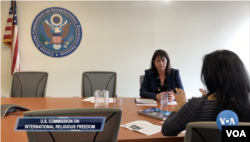 Nadine Maenza, USCIRF, talks to VOA's Navbahor Imamova, Washington, Oct 17, 2019