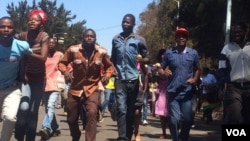 FILE: Members of the Zanu PF Youth League marching in Harare.