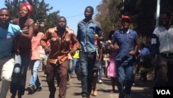 Members of the Zanu PF Youth League marching in Harare on Wednesday.