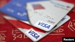 VISA credit cards on display