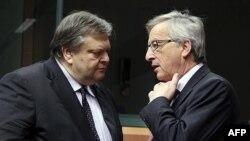 Ministar finansija Grčke, Evangelos Venizelos i šef ministara finansija zemalja evrozone, Žan Klod Junker