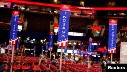Persiapan untuk pembukaan konvensi partai Republik di Quicken Loans Arena, Cleveland, Ohio.