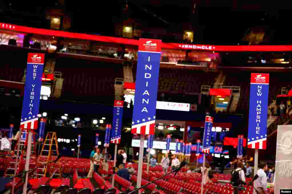 Signs designating specific state delegations are seen on the floor of Quicken Loans Arena where the Republican National Convention is going to be hled in Cleveland, July 16, 2016.
