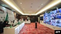 Boko na ba ministres ya G20 ya pétrole na Video-conférence wuto Rihad, Arabie Saoudite, 10 avril 2020.