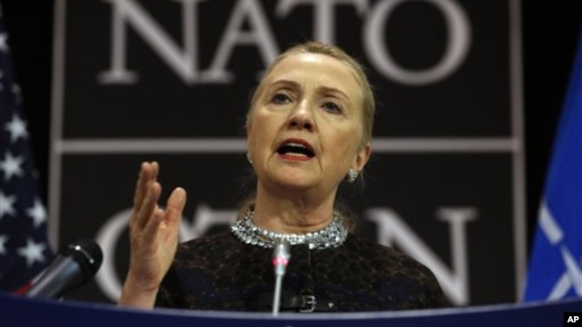 U.S. Secretary of State Hillary Clinton speaks at a press conference at NATO headquarters in Brussels, Belgium, December 5, 2012.