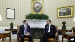 Ο Πρωθυπουργός του Λιβάνου Σαάντ Χαρίρι με τον αμερικανό Πρόεδρο Μπαράκ Ομπάμα στην Ουάσιγκτον.