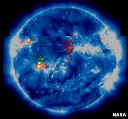 Image showing charged particles racing from the sun which can cause power blackouts and distruption of radio signals that guide aviation and GPS systems.