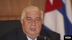 Menteri Luar Negeri Suriah, Walid al-Moallem (foto: dok). Kementerian Luar Negeri Suriah menolak pengiriman pasukan Arab ke Suriah.