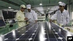 중국의 태양열전지판 제조 업체. (자료 사진)