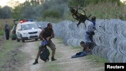 Sirijski migranti beže preko žičane ograde u Mađarsku