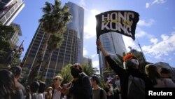 支持香港反送中运动的抗议者2019年9月29日在澳大利亚悉尼举行声援香港集会。