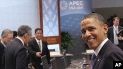 奧巴馬星期天在檀香山到達亞太經合組織大會會場