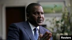 Le milliardaire nigérian Aliko Dangote, fondateur et PDG de Dangote Group, à Lagos, Nigeria, 13 juin 2012.