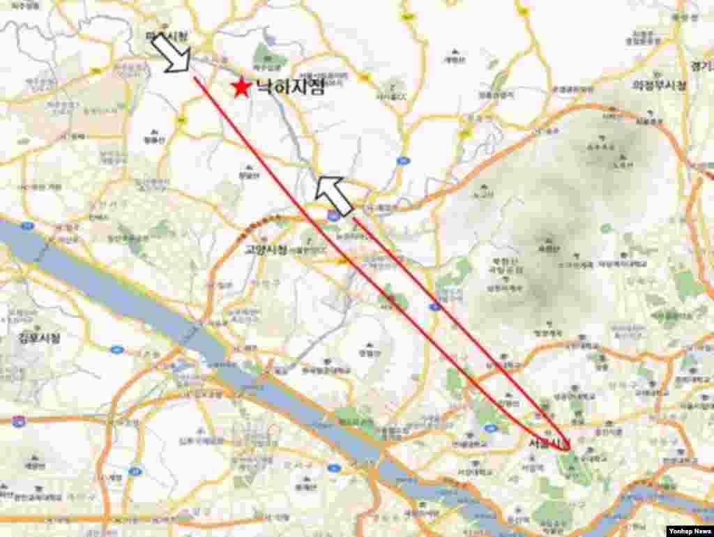 파주에 추락한 북한 발진 추정 무인기의 비행경로.