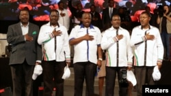 Kenyan opposition leaders (L-R), Musalia Mudavadi, Raila Odinga, Isaac Ruto, Kalonzo Musyoka, and Moses Wetangula sing the national anthem as they announce their National Super Alliance (NASA) coalition for the 2017 general elections in Nairobi, April 20, 2017.