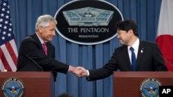 美國國防部長哈格爾在國防部會晤日本防衛相小野寺五典。