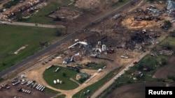 德克薩斯州韋斯特鎮化肥廠在爆炸意外發生後被夷為平地。(資料圖片)